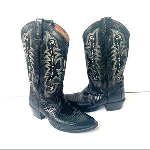 Tony Lama Black Croc Leather Cowboy Western Boots